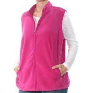 Karen Scott Plus Fleece Full Zip Vest w/ Pockets